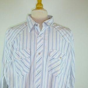 BEN SHERMAN STRIPE SNAP work shirt western 6 3xl